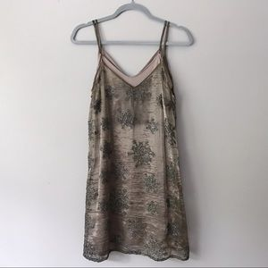 Vintage Layered Taupe Sparkle Party Dress - S/M